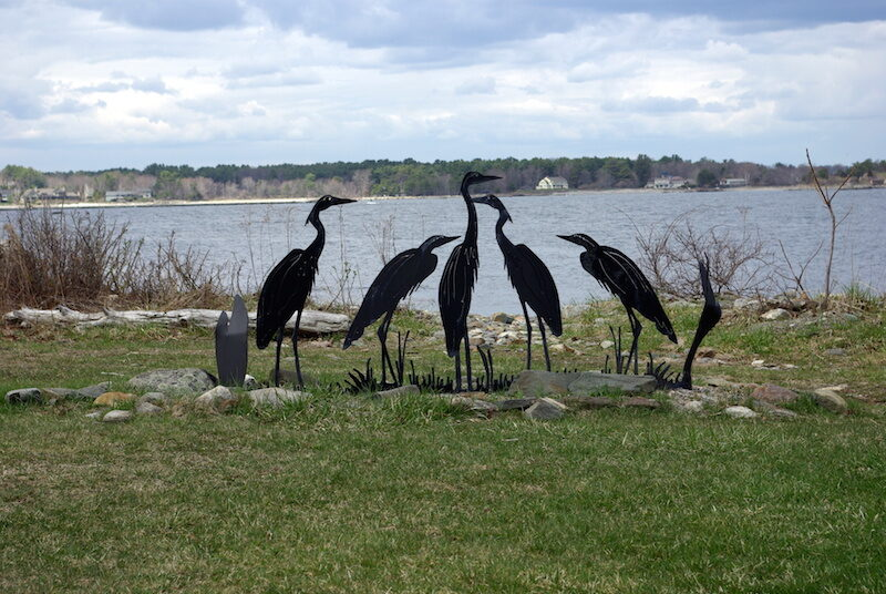 bird sculptures near lake in New Hampshire